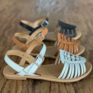 SODA OffWhite Stylish Huarache Weave Buckle Sandal